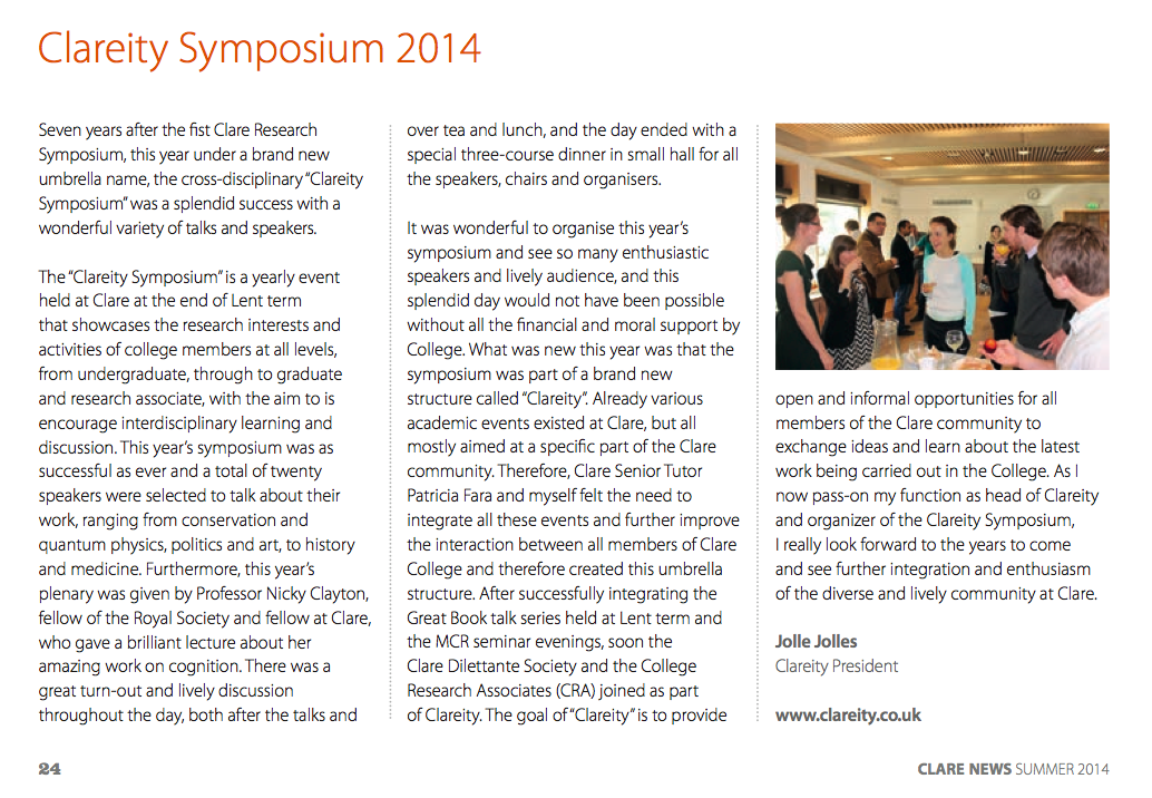 My article on Clareity and the Clareity symposium in the autumn edition of Clare News